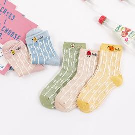 Women's Medium Tube Dark Flower Wild Combed Cotton Socks 5 Pairs NSASW74736