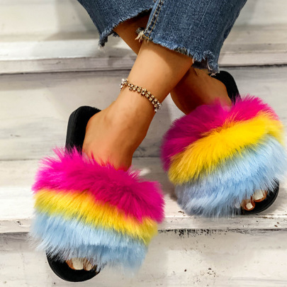 Color Wool Thick Bottom Cotton Slippers Nihaostyles Wholesale Clothing Vendor NSKJX74762