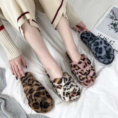 Fluffy Leopard Print Slippers Nihaostyles Wholesale Clothing Vendor NSKJX74763
