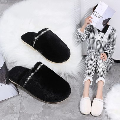Fashion Solid Color Pearl Decor Fluffy Slippers Nihaostyles Wholesale Clothing Vendor NSKJX74765