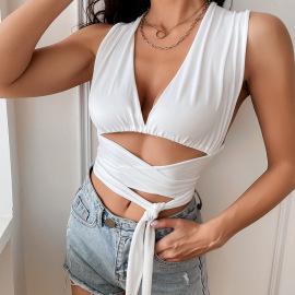 Sexy Deep V-neck Wrap Short Slim Strappy Vest Nihaostyles Wholesale Clothing Vendor NSGMY74774