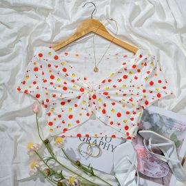 V-neck Knotted Fruit Print Short Short-sleeved Top Nihaostyles Wholesale Clothing Vendor NSGMY74781