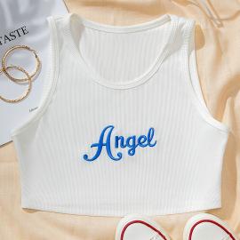 Angel Letter Embroidered Sleeveless Short Vest Nihaostyles Wholesale Clothing Vendor NSGMY74782