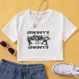 Cowboys Western Denim Print Short Sleeve T-shirt Nihaostyles Wholesale Clothing Vendor NSGMY74783