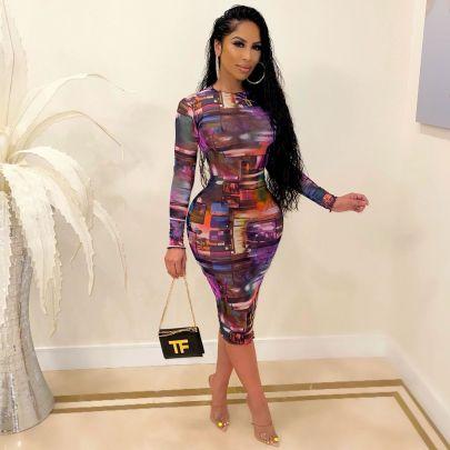 Women's Mesh Slim Long-sleeved Dress Nihaostyles Clothing Wholesale NSOML74786