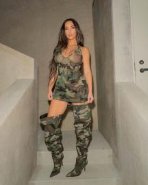 Women's Camouflage Print Tight Dress Nihaostyles Clothing Wholesale NSOML74799