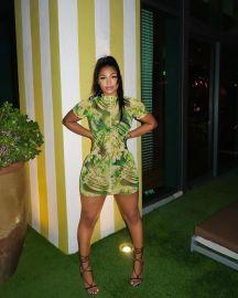 Women's Green Pattern Print Slim Dress Nihaostyles Clothing Wholesale NSOML74803