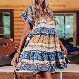 V-neck Short-sleeved Ruffle Stitching Short Dress Nihaostyles Wholesale Clothing Vendor NSSI74837