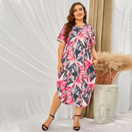 Plus Size Print Short-sleeved V-neck Dress Nihaostyles Wholesale Clothing Vendor NSSI74846