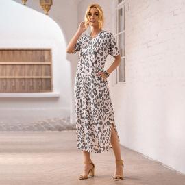 Short-sleeved Round Neck Leopard Print Split Dress Nihaostyles Wholesale Clothing Vendor NSSI74855