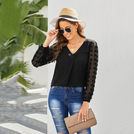 Solid Color Jacquard Lantern Sleeve V-neck Top Nihaostyles Wholesale Clothing Vendor NSSI74864