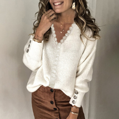 New Lace Stitching V-neck Buttoned Long-sleeved Top Nihaostyles Wholesale Clothing Vendor NSSI74869