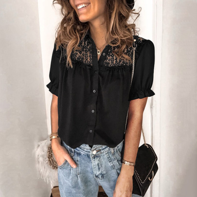 Pure Color Lace Stitching Breasted Short-sleeved Top Nihaostyles Wholesale Clothing Vendor NSSI74870