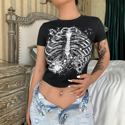 Sternum Print Round Neck Basic T-shirt Nihaostyles Wholesale Clothing Vendor NSXPF74885
