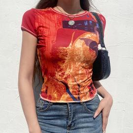 Abstract Printing Round Neck T-shirt Nihaostyles Wholesale Clothing Vendor NSXPF74887