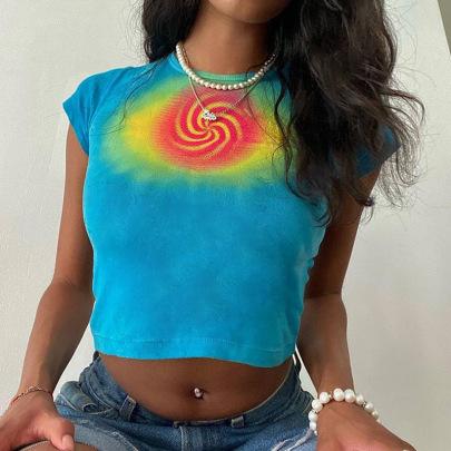 Printing Hit Color Sexy Street Short-sleeved T-shirt Nihaostyles Wholesale Clothing Vendor NSXPF74898