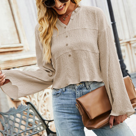 Women's Solid Color Ruffled V-neck Long-sleeved Shirt Nihaostyles Clothing Wholesale NSLM74903