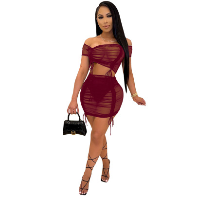New Solid Color Mesh Crease Skirt Set Nihaostyles Wholesale Clothing Vendor NSCQ74909