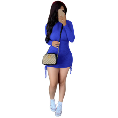 Pleated Dress Sexy Long-sleeved Bag Hip Dress Nihaostyles Wholesale Clothing Vendor NSCQ74910