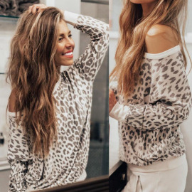 Leopard Print Round Neck Long Sleeve Women's T-shirt Nihaostyles Clothing Wholesale NSOUY75003