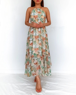 Printed Chiffon Halterneck Dress With Lining Nihaostyles Clothing Wholesale NSOUY75001