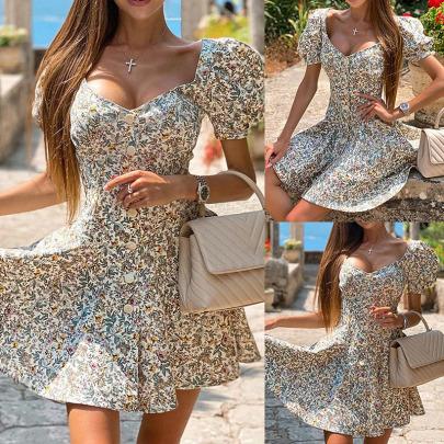 Women's Print V-neck Button Slim Dress Nihaostyles Clothing Wholesale NSOUY74999