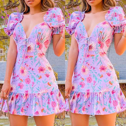 Women's Square Neck Tie Printed Dress Nihaostyles Clothing Wholesale NSOUY74997