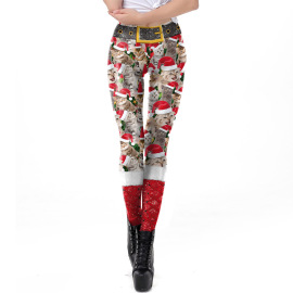 Women's Red And White Stripe Printing Tight Waist Leggings Nihaostyles Clothing Wholesale NSNDB71108