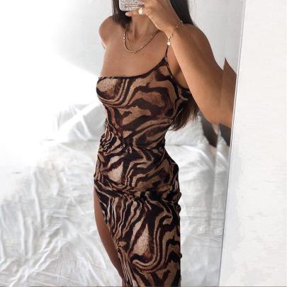 Women's Slimming Tiger Pattern Dress Women Nihaostyles Clothing Wholesale NSXPF71174