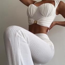 Women's New Slim High Waist Vest Bag Hip Wide-leg Pants Casual Suit Nihaostyles Clothing Wholesale NSXPF71178