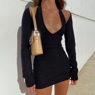 Autumn And Winter Women's Hanging Neck Halter Sexy Slim Bag Hip Dress Nihaostyles Clothing Wholesale NSXPF71181