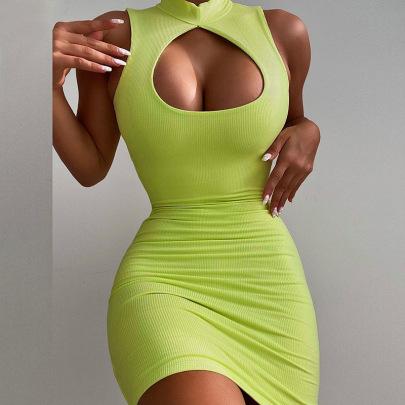 Women's Sleeveless Round Neck Hollow Slim Fit Hip Dress Nihaostyles Clothing Wholesale NSXPF71182