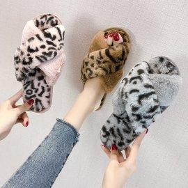 Women's Cross Strap Furry Leopard Print Slippers Nihaostyles Clothing Wholesale NSKJX71186