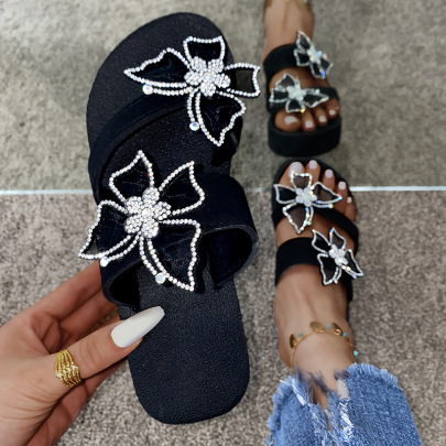 Women's Flash Diamond With Butterfly Slippers Nihaostyles Clothing Wholesale NSKJX71189