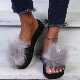Female Imitation Fox Fur Flip-flop Nihaostyles Clothing Wholesale NSKJX71202