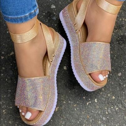 Rhinestone Color Diamond Buckle Platform Sandals Nihaostyles Wholesale Clothing Vendor NSYBJ71222