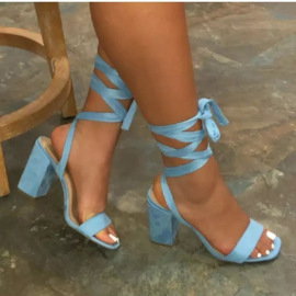Solid Color Suede Heeled Sandals Nihaostyles Wholesale Clothing Vendor NSYBJ71230