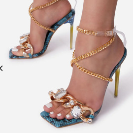 Fashion Golden Chain Decor Metal Heeled Sandals Nihaostyles Wholesale Clothing Vendor NSYBJ71232
