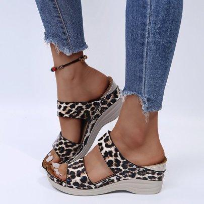 Leopard Print Wedge Sandals Nihaostyles Wholesale Clothing Vendor NSYBJ71234