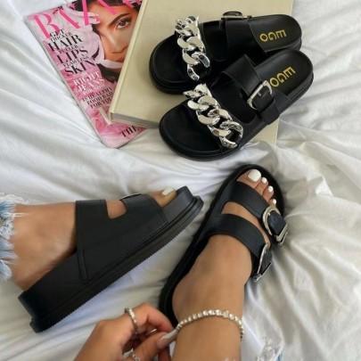 Flat Bottom Leather Round Head Chain Sandals Nihaostyles Wholesale Clothing Vendor NSYBJ71235