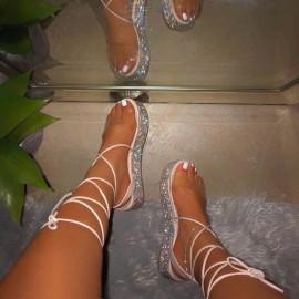 Rhinestones Straps Roman Sandals Nihaostyles Wholesale Clothing Vendor NSYBJ71237