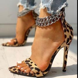 Pointed Metal Chain Stiletto Sandals Nihaostyles Wholesale Clothing Vendor NSYBJ71242