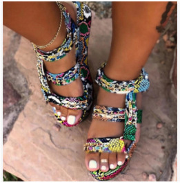 Snake Pattern Color Matching Metal Chain Sandals Nihaostyles Wholesale Clothing Vendor NSYBJ71249