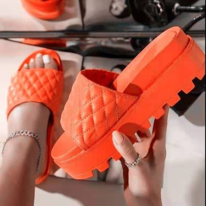 Solid Color Embossing Thick Flats Sandals Nihaostyles Wholesale Clothing Vendor NSYBJ71259
