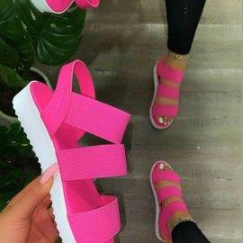 Velcro Pink Thick Flat Sandals Nihaostyles Wholesale Clothing Vendor NSYBJ71265