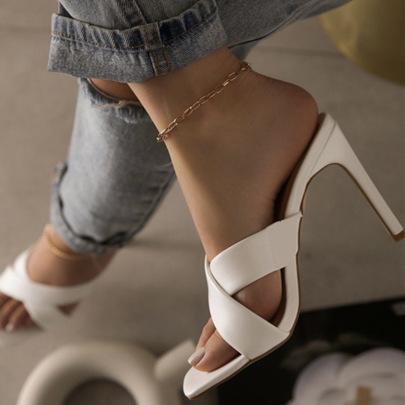 Brown Imitation Leather Heeled Sandals Nihaostyles Wholesale Clothing Vendor NSYBJ71268