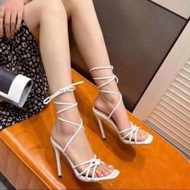 Straps Lace-up Square Toe High-heeled Sandals Nihaostyles Wholesale Clothing Vendor NSYBJ71270