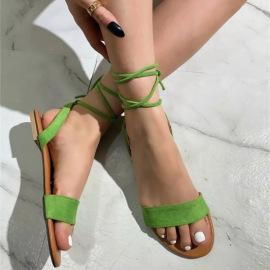 Green Round Head Strap Leg Tie Sandals Nihaostyles Wholesale Clothing Vendor NSYBJ71274