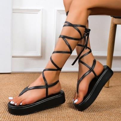 Fashion Leg Tie Thick Sandals Nihaostyles Wholesale Clothing Vendor NSYBJ71276