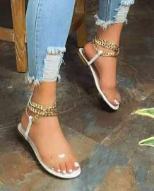 Flat Bottom Round Toe Metal Chain Sandals Nihaostyles Clothing Wholesale NSCRX71299